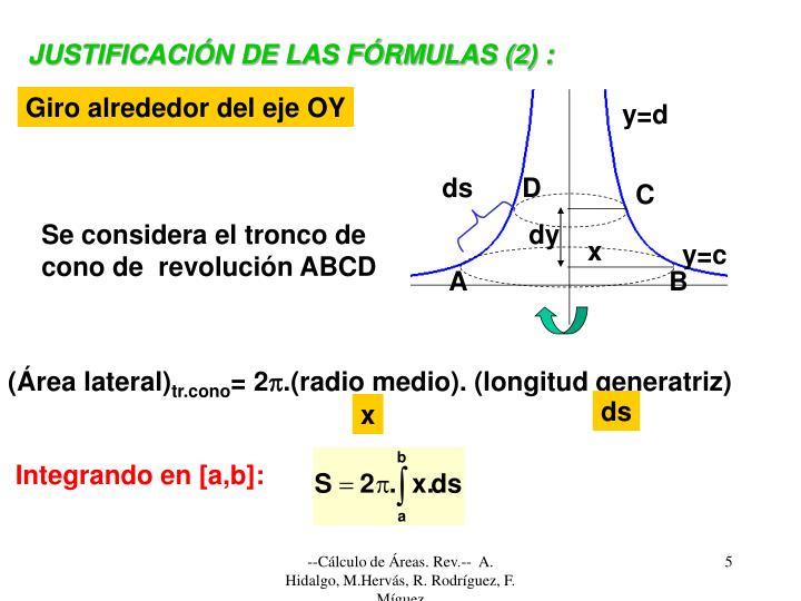 JUSTIFICACIÓN DE LAS FÓRMULAS (2) :