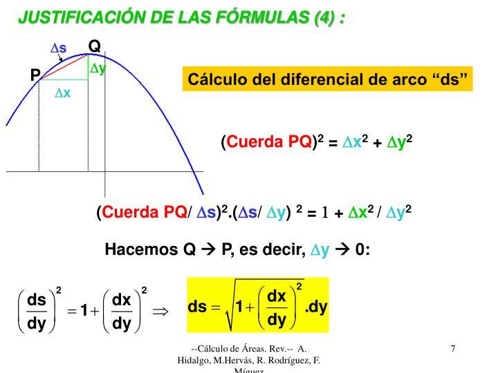 JUSTIFICACIÓN DE LAS FÓRMULAS (4) :