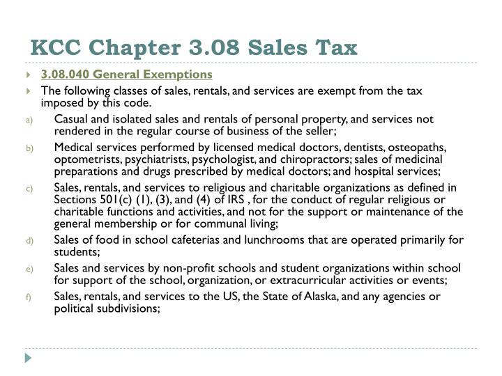 KCC Chapter 3.08 Sales Tax