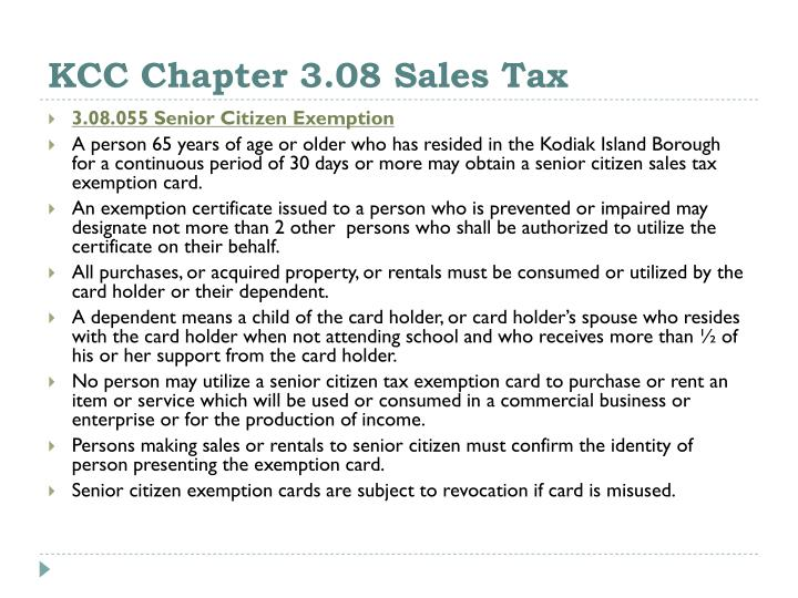 KCC Chapter 3.08 Sales Tax