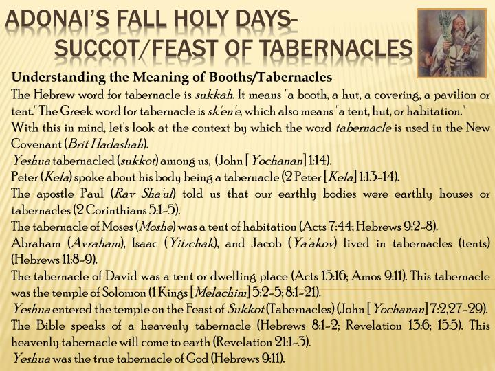 Understanding the Meaning of Booths/Tabernacles