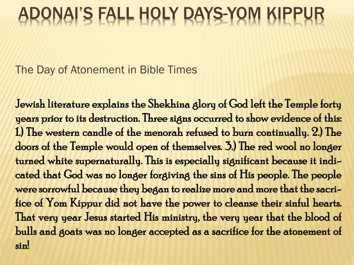 The Day of Atonement in Bible Times