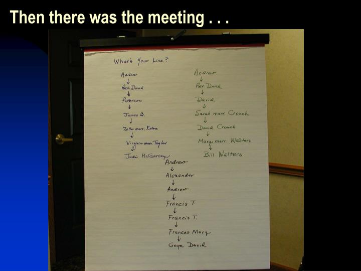 Then there was the meeting . . .