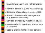 investment advisor information