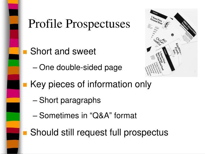 Profile Prospectuses