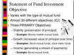 statement of fund investment objective