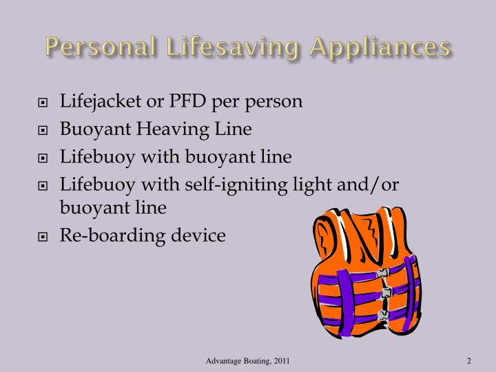Personal Lifesaving Appliances
