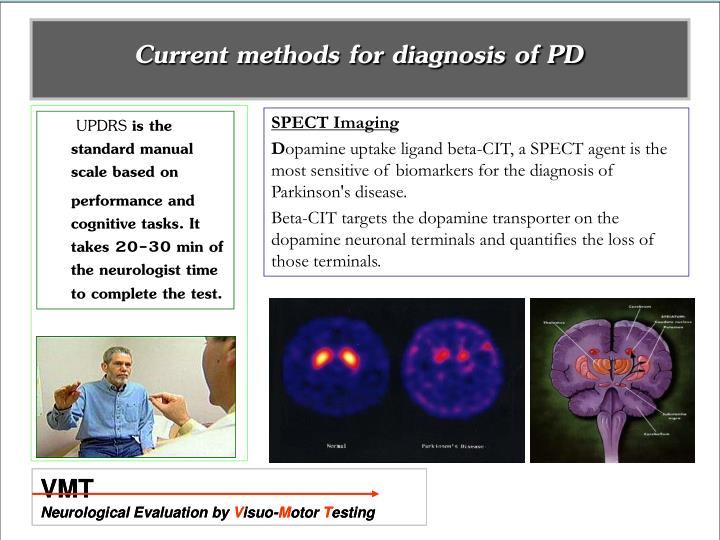 Current methods for diagnosis of PD