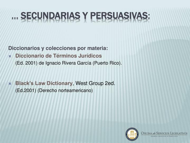 Diccionarios y colecciones por materia: