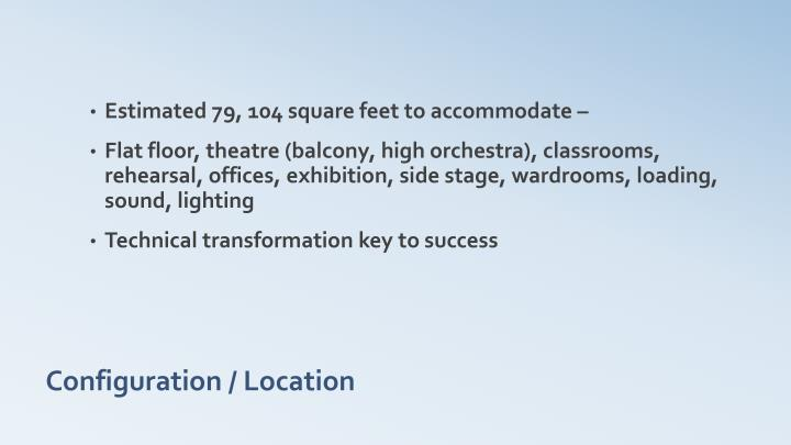 Estimated 79, 104 square feet to accommodate –