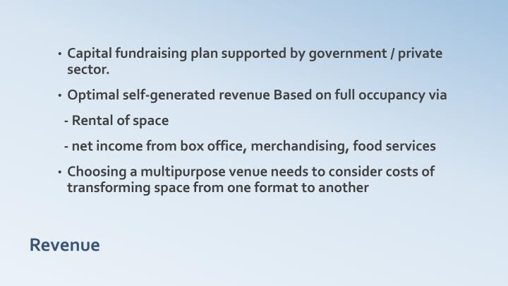 Capital fundraising plan supported by government / private sector.