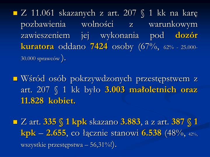 Z 11.061 skazanych z art. 207 § 1 kk na karę pozbawienia wolności z warunkowym zawieszeniem jej wykonania pod