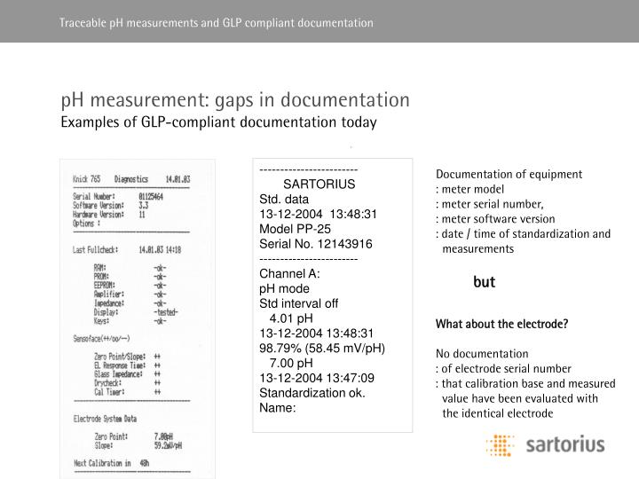 PH measurement: gaps in documentation
