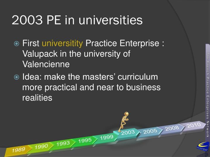 2003 PE in universities