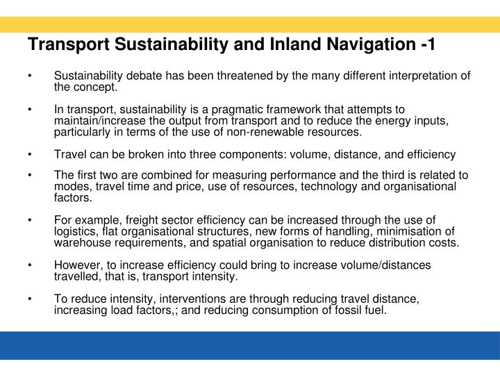 Transport Sustainability and Inland Navigation -1
