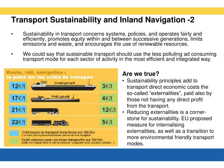 Transport Sustainability and Inland Navigation -2