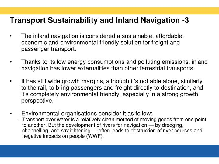 Transport Sustainability and Inland Navigation -3