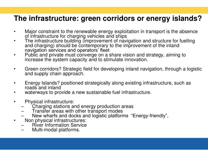 The infrastructure: green corridors or energy islands?