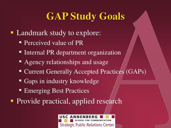 GAP Study Goals