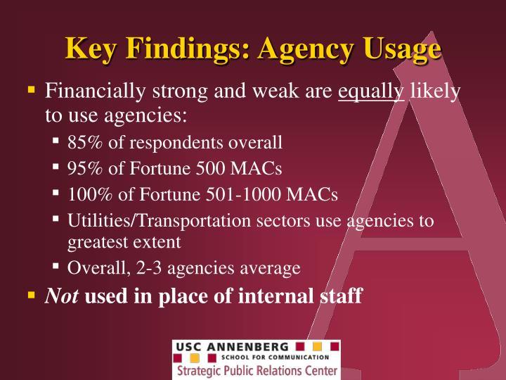 Key Findings: Agency Usage