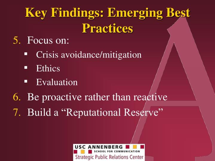 Key Findings: Emerging Best Practices