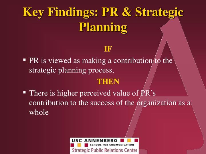Key Findings: PR & Strategic Planning