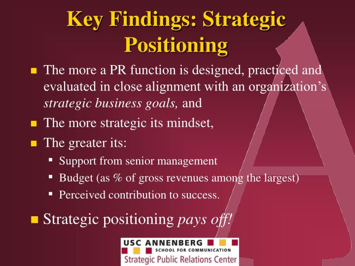 Key Findings: Strategic Positioning