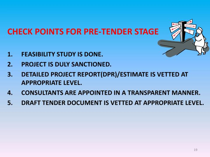 CHECK POINTS FOR PRE-TENDER STAGE