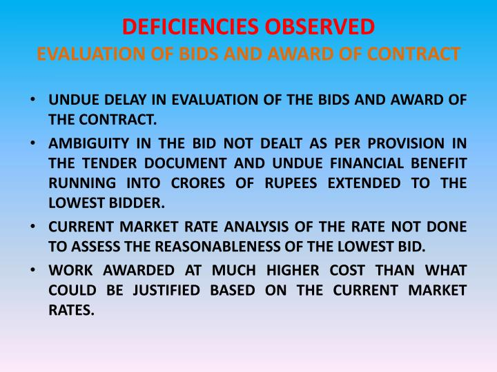 DEFICIENCIES OBSERVED