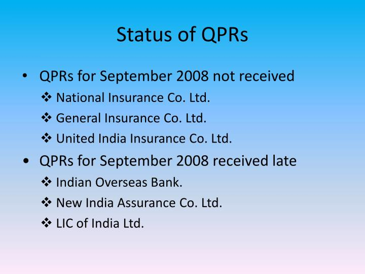 Status of QPRs
