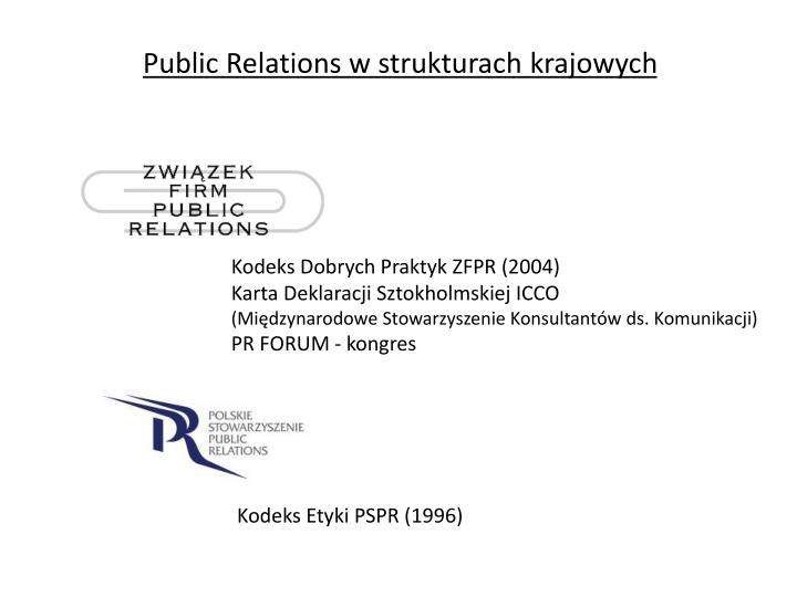 Public Relations w strukturach krajowych