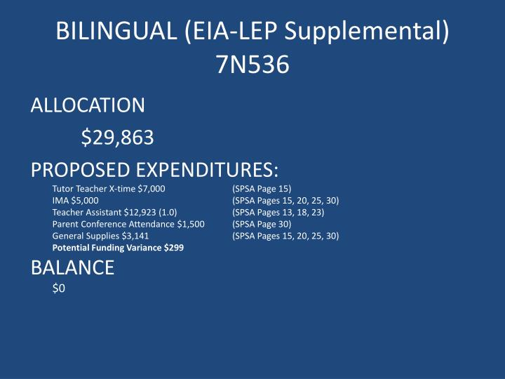 BILINGUAL (EIA-LEP Supplemental)