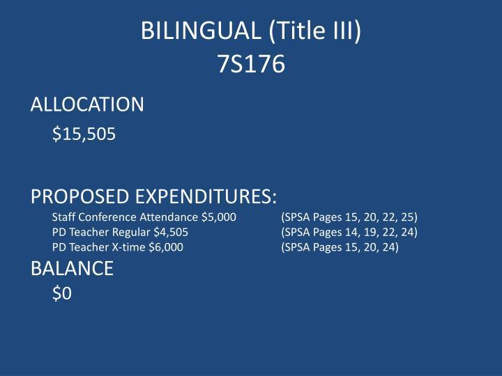 BILINGUAL (Title III)