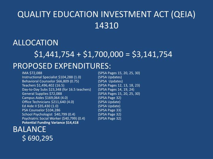 QUALITY EDUCATION INVESTMENT ACT (QEIA)