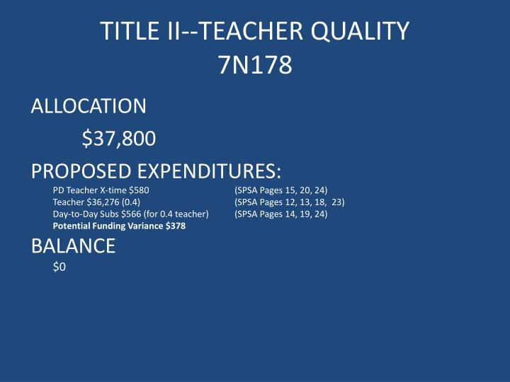 TITLE II--TEACHER QUALITY