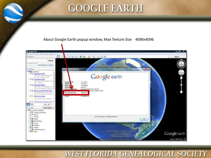 About Google Earth popup window, Max Texture Size    4096x4096