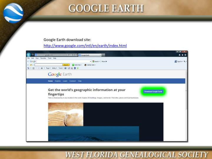 Google Earth download site: