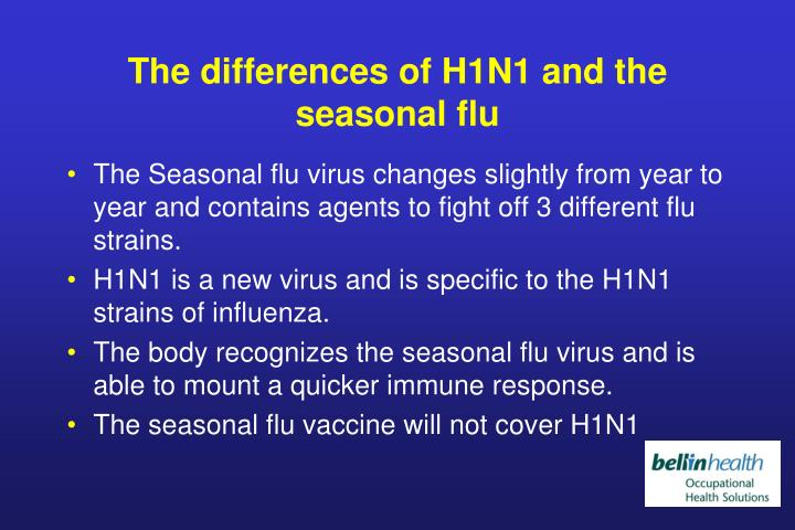 The differences of H1N1 and the seasonal flu