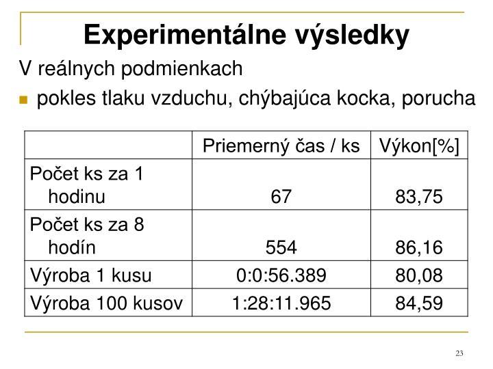 Experimentálne výsledky