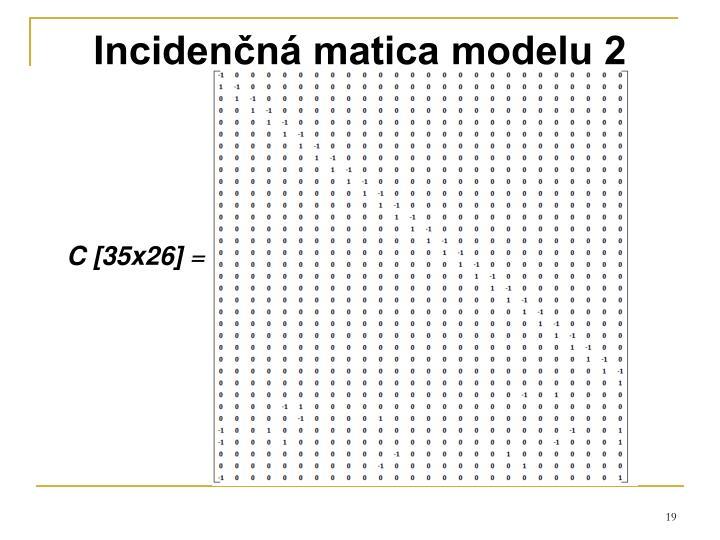 Incidenčná matica modelu 2