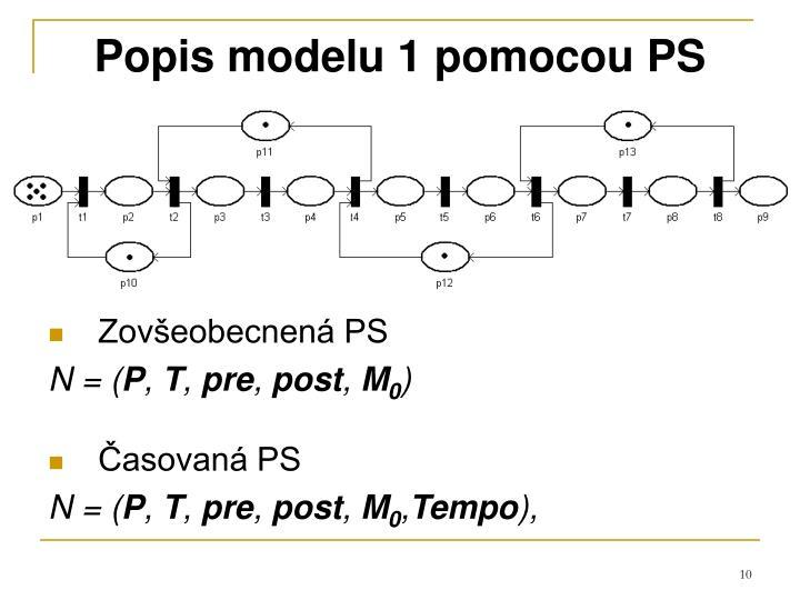 Popis modelu 1 pomocou PS