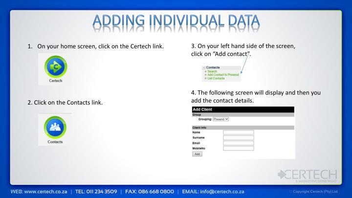 Adding Individual Data