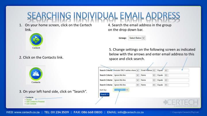 Searching Individual Email Address