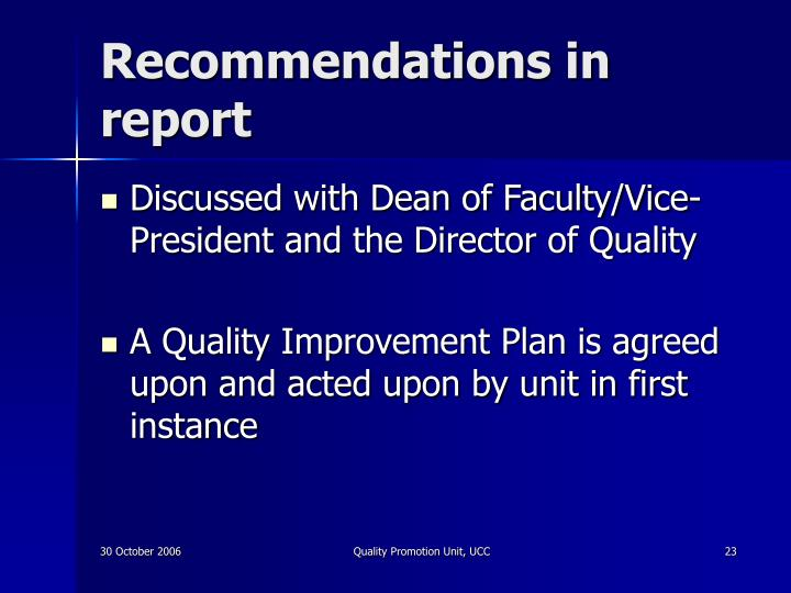 Recommendations in report