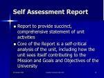 self assessment report