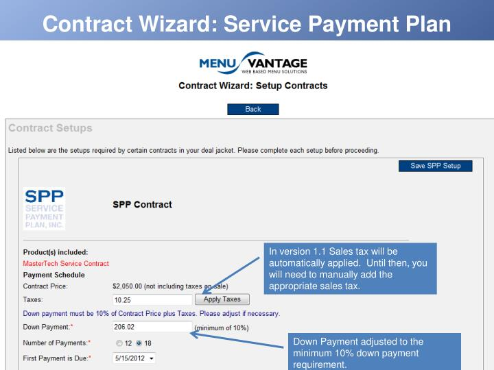 Contract Wizard: Service Payment Plan