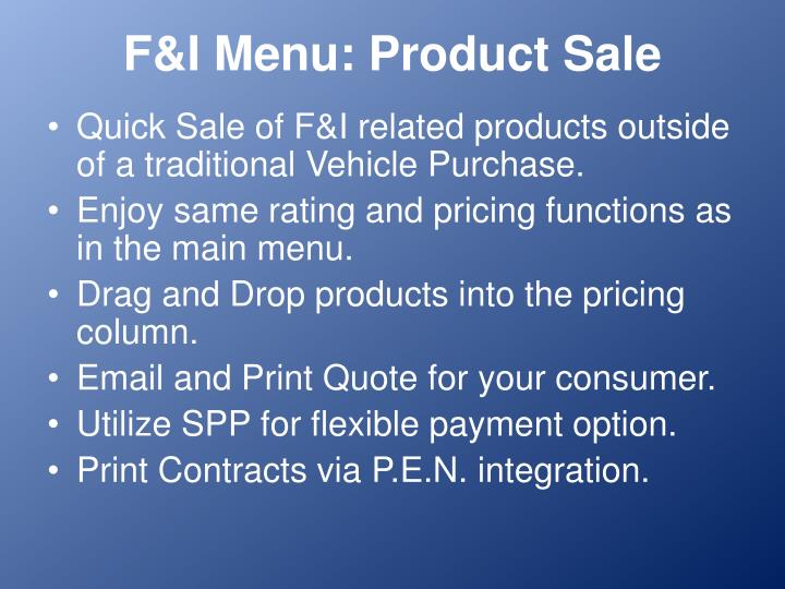 F&I Menu: Product Sale