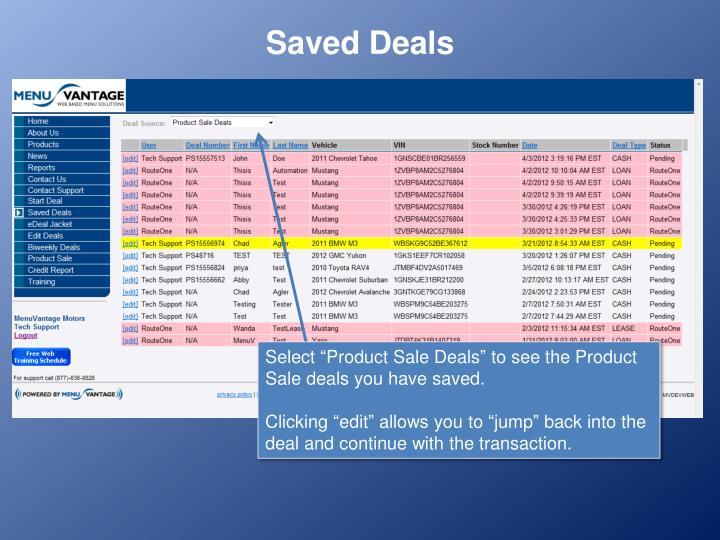 Saved Deals