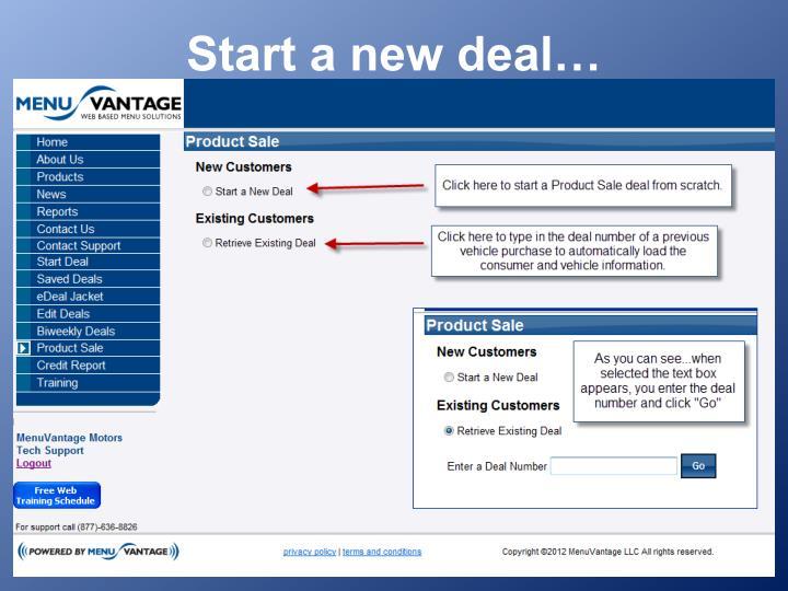 Start a new deal…