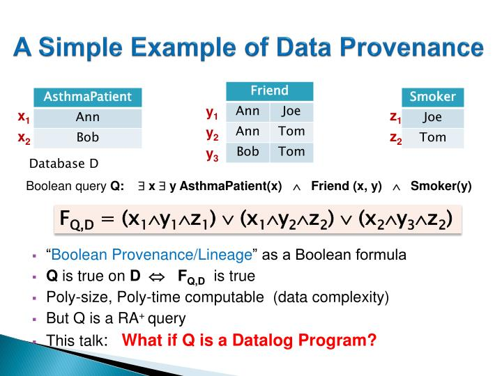A Simple Example of Data Provenance